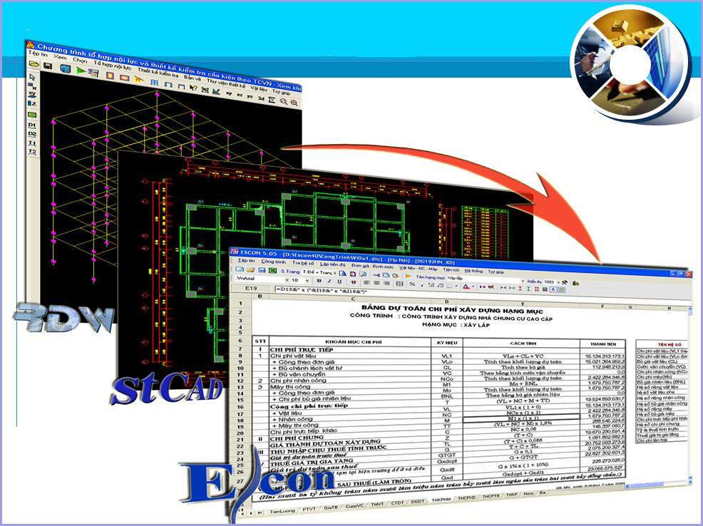 Giải pháp kết nối tối ưu cho công tác thiết kế kết cấu – lập bản vẽ - tính dự toán công trình